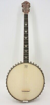 Antique 4 String Banjo With Remo Weather King Head & Mother Of Pearl Inlay