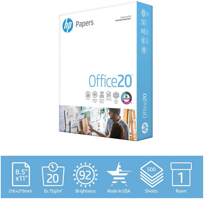 HP Printer Papers Office 20lb, 8.5 x 11, 500 Sheets Reams White Copy Printing