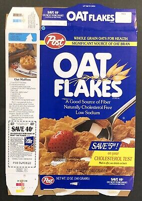 Vintage 1988 Post Oat Flakes Used Cereal Box