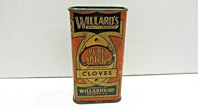 Willard's Spices Cloves Vintage Spice Tin Advertising Scarce Rare