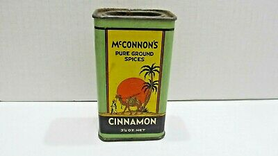 McConnon's Pure Ground Spices Cinnamon Vintage Spice Tin Art Deco Grapics