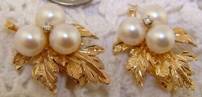 1960s 14k Gold WHITE PEARL & LEAF Hawaii Clip On Earrings Gump's Ming's 9.2 g