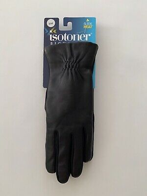 Isotoner Womens Classic Stretch Leather Touchscreen Gloves, Size S/M - NWT