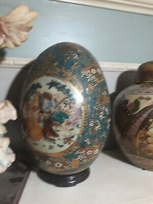 Antique Statuesque Japanese Large 19 In.Tall Hand Painted SATSUMA Porcelain Egg