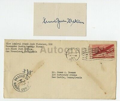 Frank Jack Fletcher - US Navy - Vintage WWII War Date Signature on Card, 1944