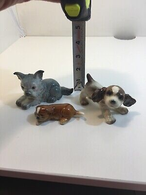 3 Vintage Small Goebel Porcelain Dogs Schnauzer Boxer Puppy And Spaniel