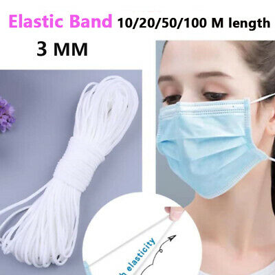 3mm Round Braided Elastic Band Earloop Cord String Rope Stretch For Face Sheild