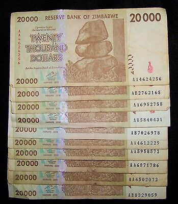 10 Zimbabwe 20000 (20,000) Dollar Banknotes-Circulated paper money currency