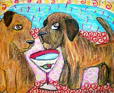 BORDER TERRIER Collectible Pop Art Print 8x10 Signed by Artist KSams Coffee Dogs
