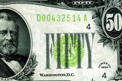 $50 1934 Lgs  Lime (( Light Green Seal )) More Currency For Sale