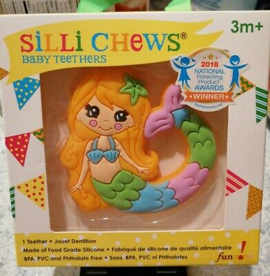 Silli Chews Baby Teether Mermaid Silicone Teething Toy Infant Pain Relief