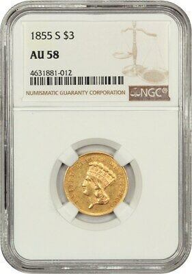 1855-S $3 NGC AU58 - 3 Princess Gold Coin - Scarce Issue!