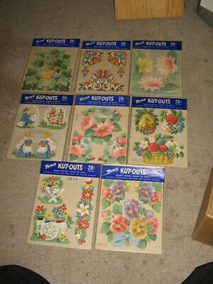 1940s TRIMZ MIP vintage wall paper decoration floral cutout (12- 6 diff)