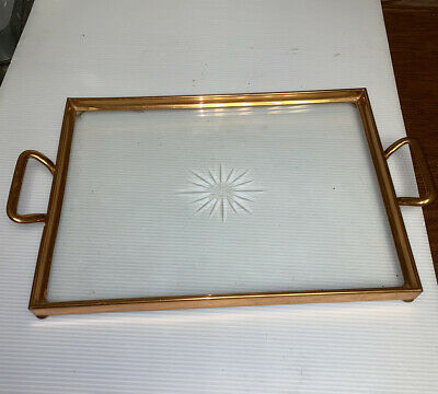 """Glass And Copper Serving Tray 14"""" X 10"""""""