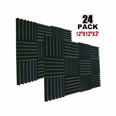 24pcs Black Acoustic Foam Panels Soundproofing Studio Foam Wedge Tiles Fireproof