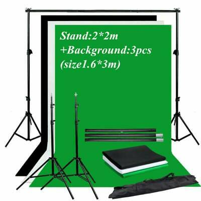 2*3M Photo Studio Background Support Stand + Black White Green Screen Backdrop