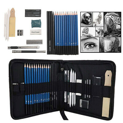 32pcs-Sketching-Drawing-Set-Art-Pencil-Kit-Graphite-Charcoal-Artists
