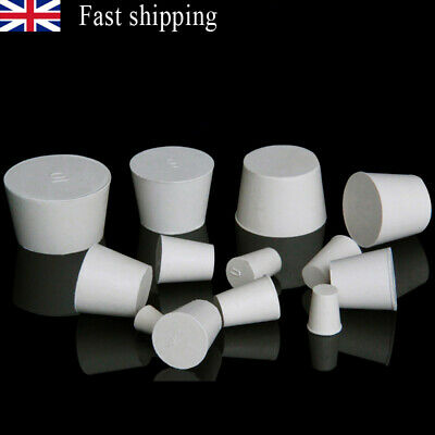 2/10Pcs Lab Test Tube Tapered Rubber Stopper Solid Hole Bung Sealing Plug