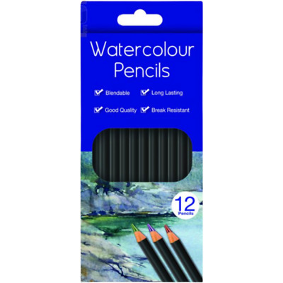 12 Watercolour Pencils Artist Drawing Painting Sketching Art Craft Stationery