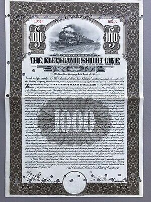 1911 Cleveland Short Line Railway Company Bond Stock Certificate Ohio