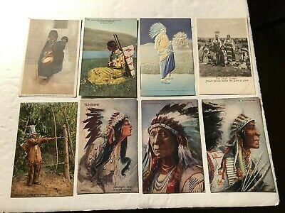 15-Early 1900's Indian Ethnic Culture Postcards Chiefs-Native American Life