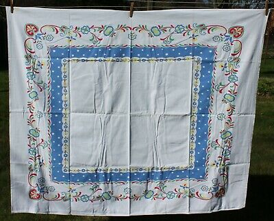 Vtg STARTEX Tablecloth - White w Colorful Flowers Heart on Corners Design 51x62
