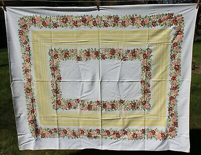 Vintage Tablecloth - White w Yellow and Peach & Burnt Red Floral Design 54x64
