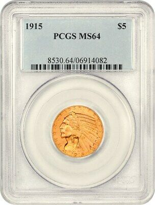 1915 $5 PCGS MS64 - Indian Half Eagle - Gold Coin - Pretty!