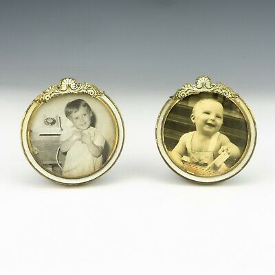 Antique Pair Of Enamelled Brass Miniature Circular Frames - Lovely!