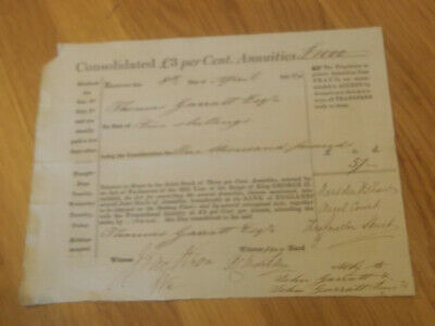 Consolidated £3 Per Cent Annuities Certificate Dated 1842