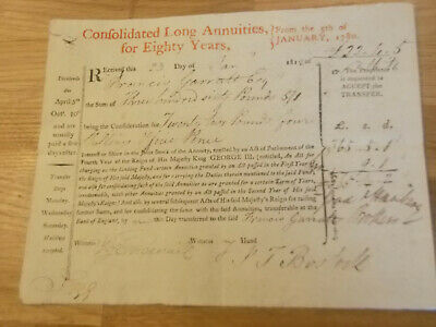 Rare Consolidated Long  Annuities Certificate 80 Years From 1780 Issued In 1812