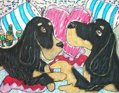 Gordon Setter Romance Pop Art Print 8x10 Dog Collectible Signed by Artist KSams