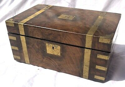 Antique Victorian Walnut & Brass Campaign Writing Box Slope SECRET DRAWERS