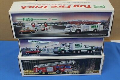 Lot of 3 Hess Toy Trucks Fire truck Bank Truck and Racer Pre-Owned