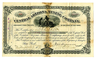 AZ. Central Arizona Mining Co., 1881 I/U Stock Cert 100 Shrs Fine Stained