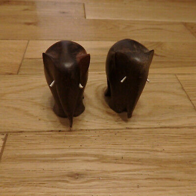 Pair of Elephants - carved wooden figures both 3 inches in height