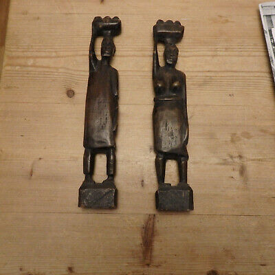 """Pair of vintage African carved wooden figures, male & female,10"""" high"""