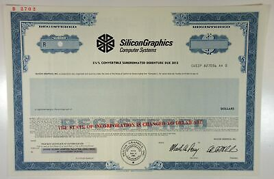 CA. Silicon Graphics Computer Systems, 1987 Registered $-Odd 5 3/4% Bond XF