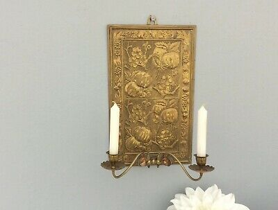 Ornate Embossed Brass Wall Plaque & Candle Sconce Arts & Crafts