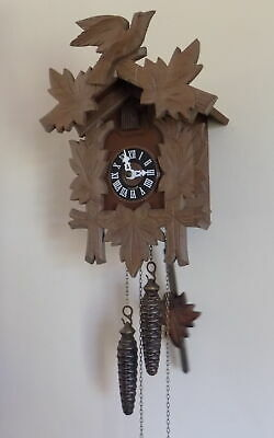 Vintage Hubert Herr German Black Forest Carved Cuckoo Clock - Fully Working