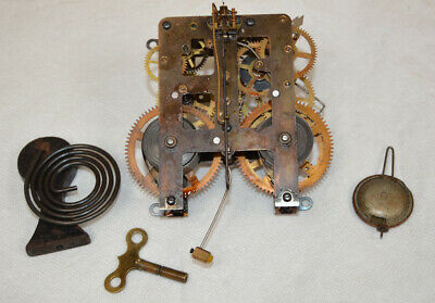 Antique Waterbury Mantle Clock Movement and Winding Key - Free US Shipping