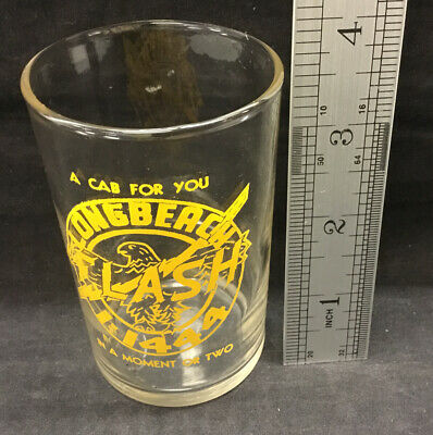 Vintage Long Beach Cab Taxi Flash Advertising Beer Drinking Glass