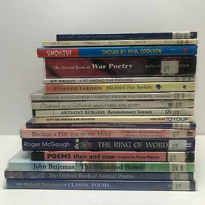 17 Book Bundle Poetry English Literature Teaching Secondary Poems TS Eliot