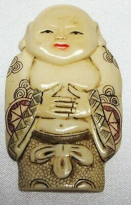 Netsuke Chinese (Bovine) Bone Carving Of A Buddah In A Coat, Very Nice Condition