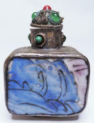 Antique/Vintage Chinese Silver Greek Key Hand Painted Porcelain Snuff Bottle