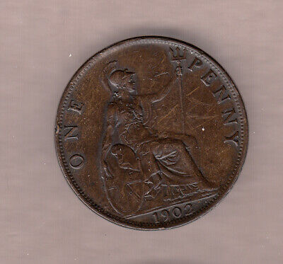 1902 Great Britain King Edward One Penny ~ Very-Fine Condition!