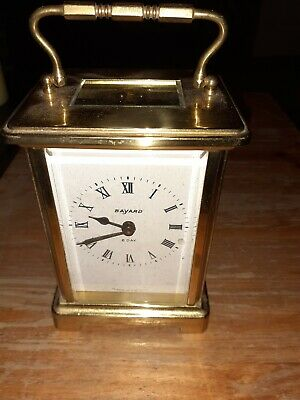 Bayard 8 Day Carrige Clock Vintage French Brass