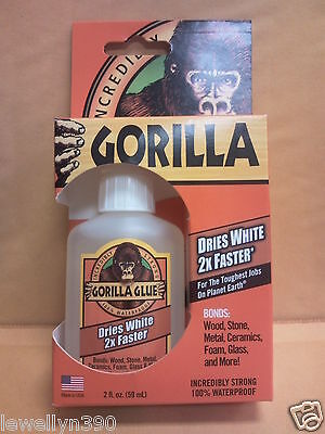 IncrediblyStrong GORILLA GLUE 2oz dries WHITE 2x faster 100% waterproof NEW!