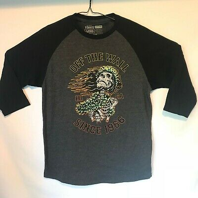 Vans Custom Off the Wall Since 1966 HI CA Baseball T-Shirt Large Skeleton RARE