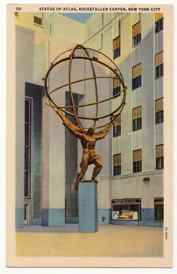 New York City Rockefeller Center Statue of Atlas c1940 International Building